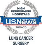 High Performing Hospitals, Lung Cancer, U.S. News & World Reports 2018-2019